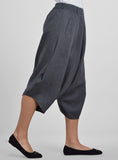 Linen Bubble Effect Harem Pants