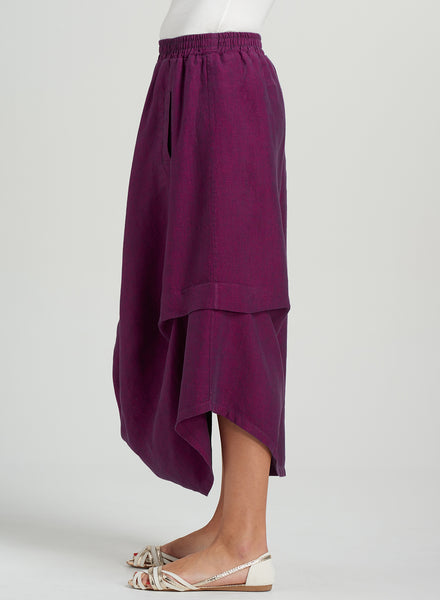 Linen Asymmetrical Draped Skirt