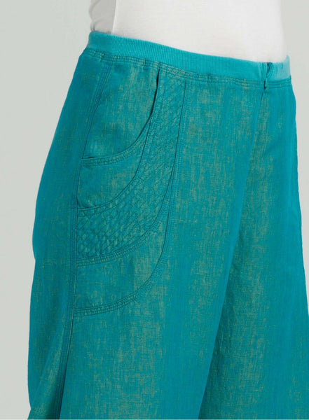 Linen flared leg pants with pockets