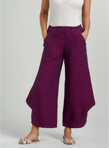 Stylish linen flared leg pants
