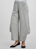 Two tone grey linen wide leg trousers