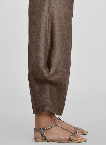 Brown linen flared leg trousers