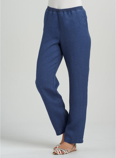 But linen straight leg trousers