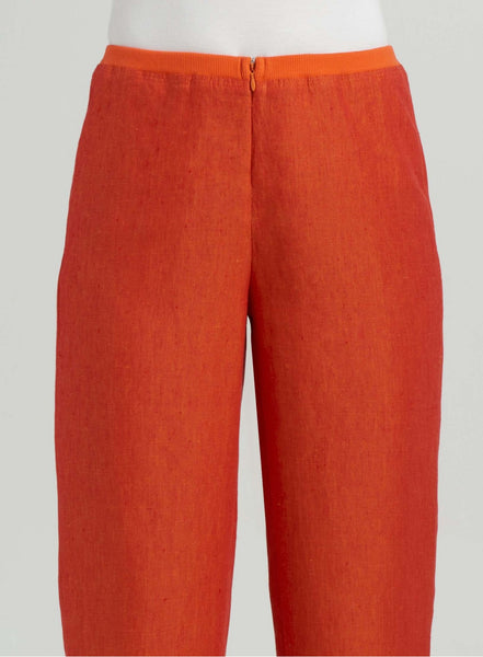 Linen full length pants with elastic waistband