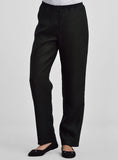 Long straight leg linen pants in black