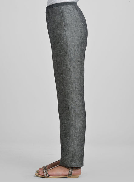 Linen Straight Leg Elasticated Rib Pants