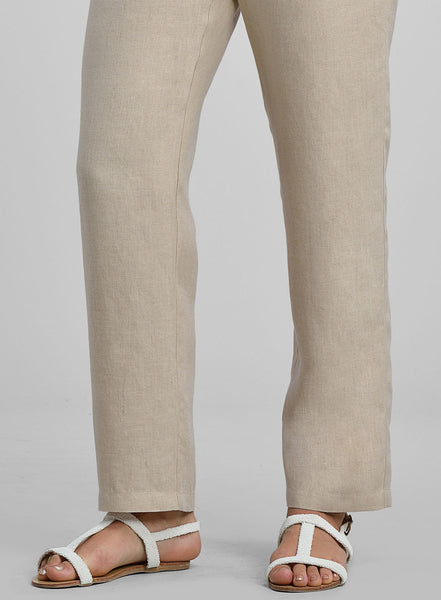 Linen long trousers in natural color