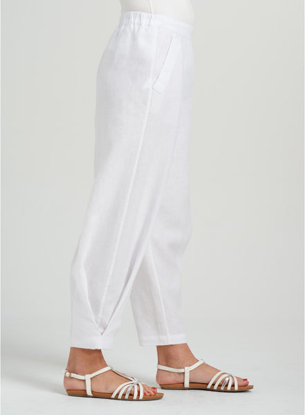 white linen pants with elasticated waist band