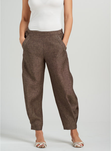 brown linen pants in plus size