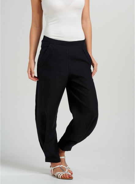 black plus size linen ankle length pants