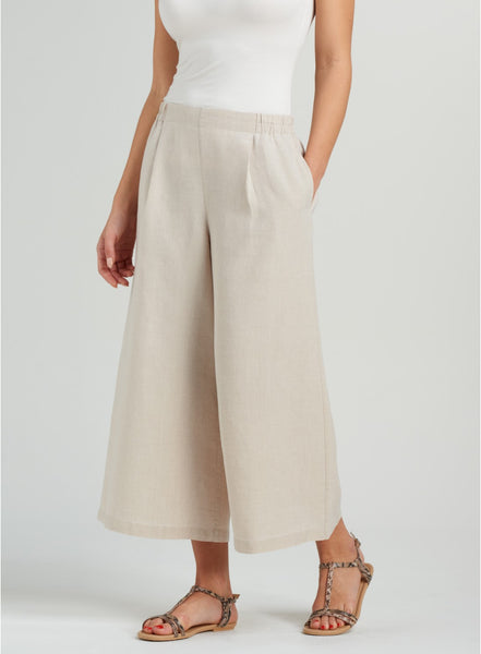Three quarter linen pants