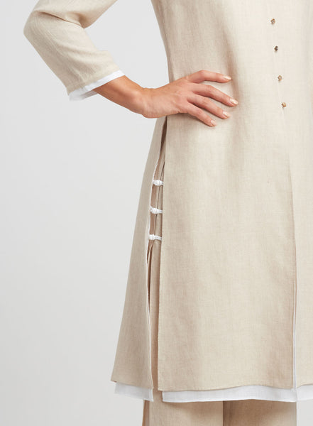 Bracelet sleeves linen long jacket