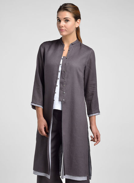 Linen long tunic with standing collar