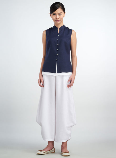Linen Mandarin Collar Sleeveless Double Layers Top
