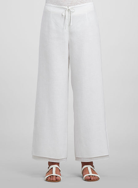 Linen Hand Made Mandarin Button Double Layer Pants