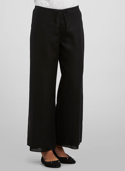 Ankle length black linen pants