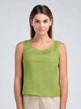 lime-green tank top