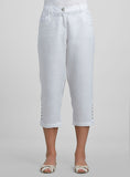 Linen Pedal Pushers Decorated Stitch Cropped Pants