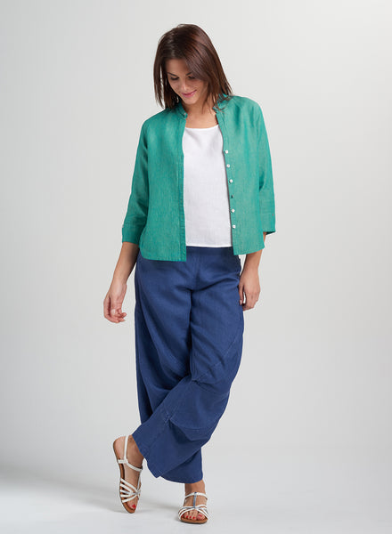 Casual linen cropped jacket in flax linen