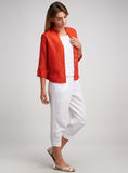 Three quarter sleeves linen blazer