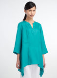 Linen tunic with curved hemline