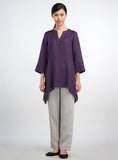Elbow sleeves linen top