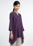 Linen Picot Stitch Notch Neck Tunic