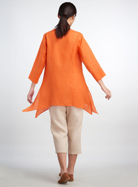 Asymmetrical hemline linen tunic with side splits