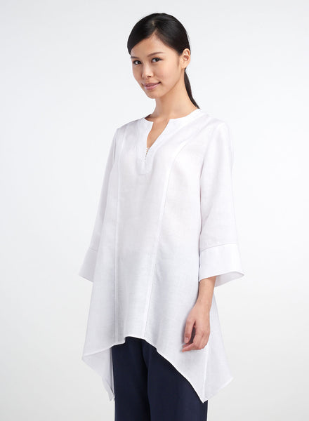 V-neck three quarter sleeves long top in white