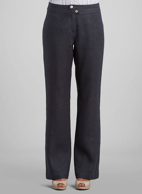Linen Slotted and Tabbed Joint Boot Leg Trousers