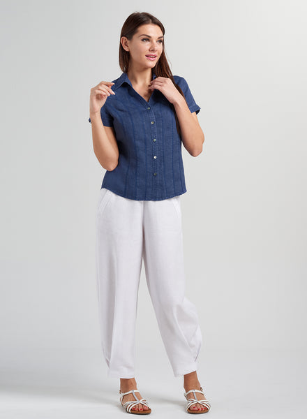 V-neck fitted short sleeves linen shirt
