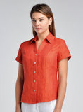 Linen shirt with pointed collar