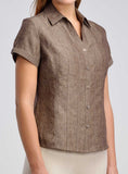 Paneled slim fit linen shirt for work