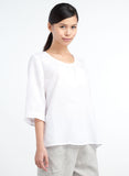 White scooped neck linen top