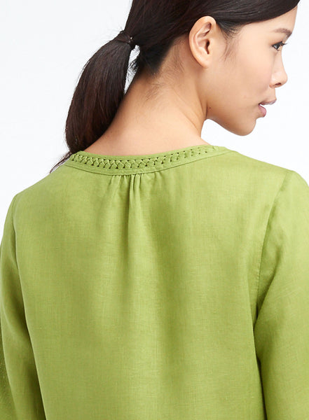 Linen Cable Trims Scooped Neck Top
