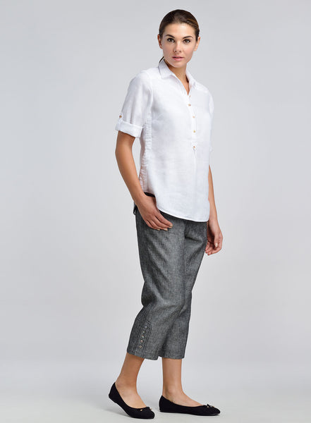 White linen shirt with pleated detailing