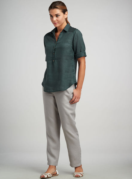 dark-olive-green linen pull-on top