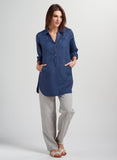 Straight silhouette linen tunic with shirt collar and pocket