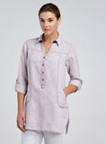 Long sleeves linen tunic with pocket