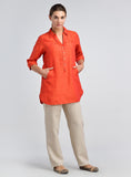 Pointed collar linen top with button front