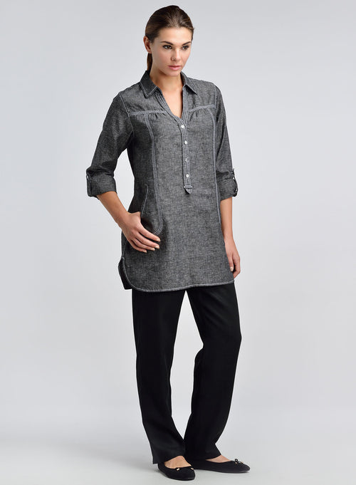 Half placket long tunic