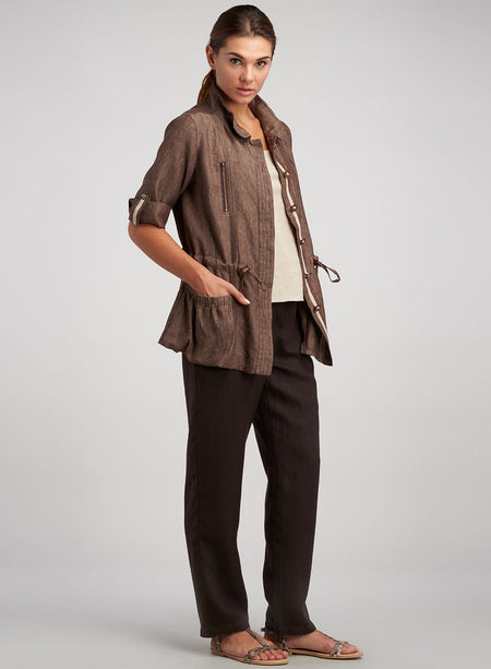 Linen Jersey Shawl Collar Waterfall Topcoat