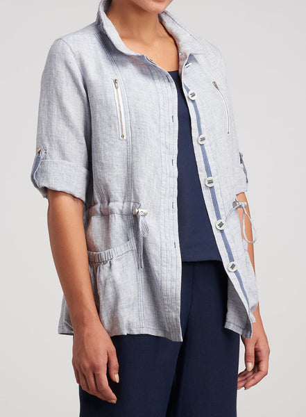 Linen Adjustable Collar Casual Jacket