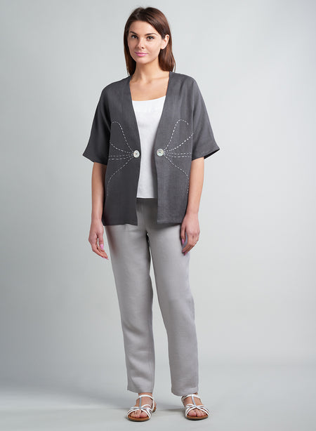 Linen Contrast Stitching Pull-on Tunic