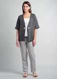Linen Hand Stitches Dropped Shoulders Jacket