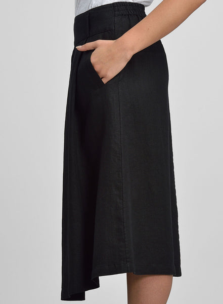 Linen Pleated Flare Skirt
