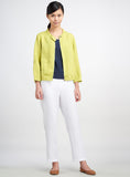 Linen Scooped Neck Short Jacket