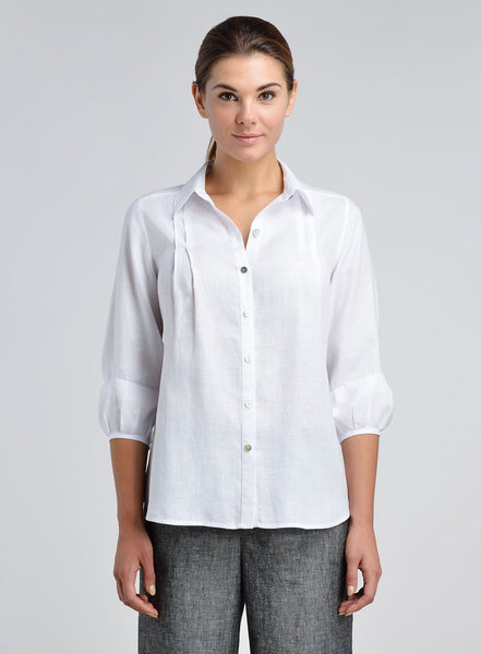 Linen Bubble Sleeve Collar Shirt