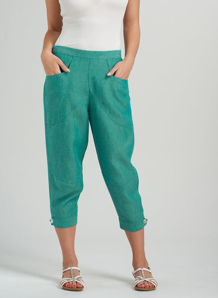 Linen Heart Shape Cut Cropped Pants