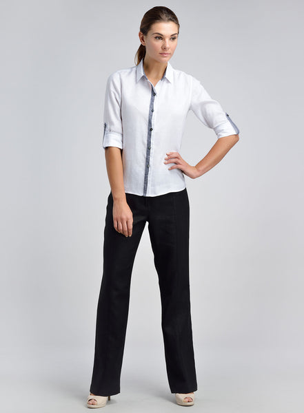 Women white linen shirt for work
